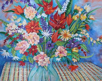 Still life painting with brightly colored flowers