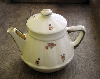 Pretty french vintage Teapot or coffee pot,  glazed  floral ceramic with  gold  pattern