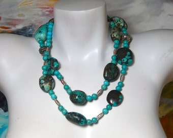 Long Chunky Turquoise Necklace, Turquoise Nuggets, .925 Sterling Silver