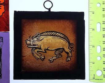 Stained Glass window fragment, BOAR, Hand painted, Leaded, Hangable, contact for Medieval, Gothic, Arts & Crafts Reproductions, Ref: BOARx5