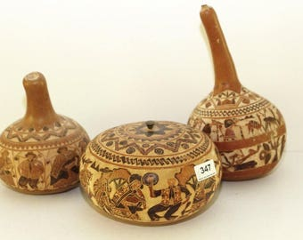 Hand carved and Decorated Peruvian Gourds