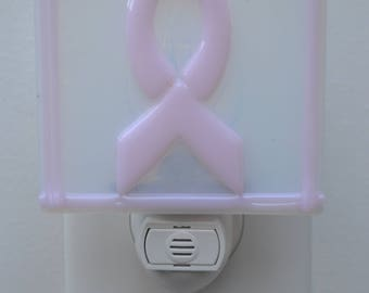 Pink Ribbon Fused Glass Night Light