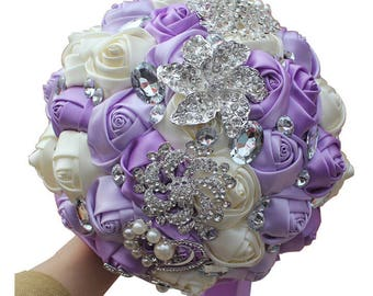 Lavender and Ivory Mixed Satin Rose Bouquet Crystal Rhinestone Bridal Bouquet Bridesmaid Bouquet Brooch Bouquet Wedding Flowers