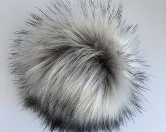 Luxury Silver with Black Husky long-haired Faux Fur Pom Pom