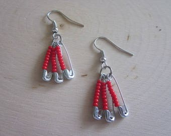 Recycle Safety Pins Earrings-/ Recycled / Seadbead / Beaded / Fashion / Punk / Womens / Gift
