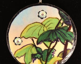 leaves and stars/disk/ jewelery/pendant/