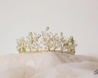Wedding Tiara, Princess Diadem, Wedding Crown, Bridal Hair Accessory, Crystal Bridal Tiara, Pearl Tiara, Swarovski Crystal Tiara- OLENA