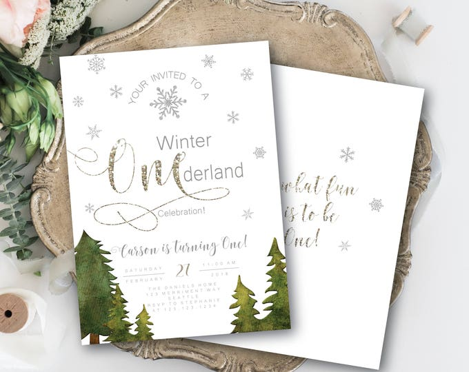 Winter Onederland Invitations Boy Girl First Birthday Greenery White Silver Glitter Sparkle Bokeh Invitation Snowflakes - SEATTLE COLLECTION