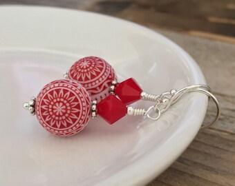 Peppermint Mandala, red and white vintage earrings, sterling silver earrings, mosaic earrings, drop earrings, Swarovski crystal, Christmas