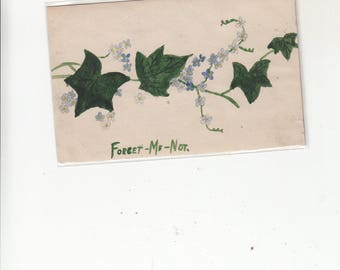 Hand Painted Forget-Me -Not Vintage Unused Postcard
