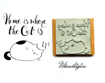 Stamp home is where the cat is, rubber stamp 40x40 mm