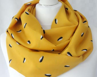 Penguin infinity scarf, Penguin scarf, Circle scarf, Cute penguin print scarf, Children's scarf