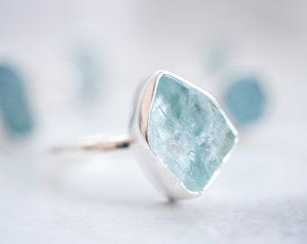 Raw Aquamarine ring Aquamarine jewelry Raw gemstone ring Raw stone ring Rough stone ring Rough gemstone ring Raw crystal ring One of a kind