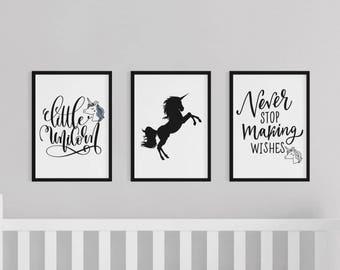 Set of 3 Gallery Wall Art Prints | Never Stop Wishing Little Unicorn Kids Girls Room Baby Nursery Decor | Black & White Gloss Images Gift