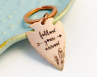 Rustic Copper Arrowhead Key Chain ~ Follow your Arrow ~ Adventure Awaits ~ Hand Stamped Keychain ~ Wanderlust ~ Find your true north