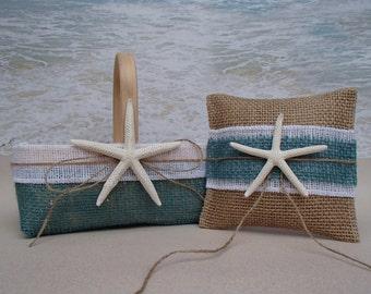 Starfish Basket & Pillow - Tropical Beach Wedding - Nautical Coastal - Hawaii Burlap RusticChic