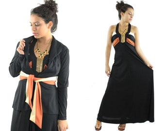 Vintage 70s Maxi Dress Jacket Deep V Halter Dress Resort Fashion Black Dress 1970s Medium M Sleeveless Dress Blazer Long Sleeve Blouse