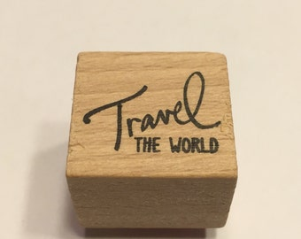 "small ""Travel the world ""rubber stamp, 22 mm (A11/1)"