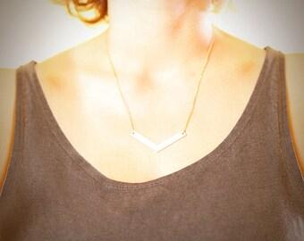 Chevron Pendant Necklace Geometric necklace,minimalist necklace, geometric jewelry, bib necklace, statement necklace
