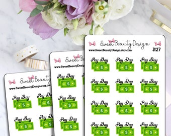 Pay Day Planner Sticker, Money Sticker, Functional Sticker, Cute Kawaii Sticker, Scrapbook Sticker, Planner Stationary Accessories