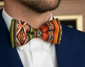 Andean Textile Green Bow Tie