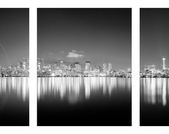 Seattle Washington Skyline Reflection at Night Panoramic Black and White print Matted in a Black Wood Frame