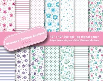 """Digital Vintage Floral Linen Paper Pack, 14 JPG Seamless Pattern, 300 dpi 12""""x12"""" Background, Instant Download Pattern Scrapbooking"""