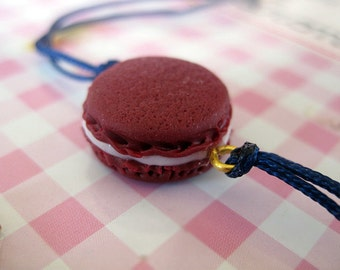 Burgundy Macaroon Bracelet _ 1/12 Dollhouse Scale Miniature Food _ Polymer Clay _ Food Jewelry _ Foodie Gift _ Macaroon Collection