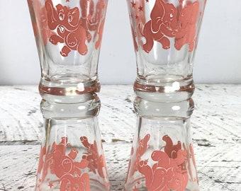 4 Vintage Hazel Atlas Pink Elephant Glass Round Base Whiskey Glass