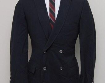 1960s men's black wool double breasted blazer/ 60s men's black wool blazer/ Varsity Town Clothes