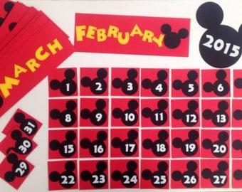Kindergarten Preschool Disney School 2017 / 2018 Calendar Pocket Chart Cards Mickey Mouse