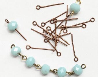 Bulk 550 Antique Copper finished Steel eye pins 20mm long  21 gauge