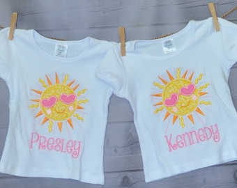 Personalized Sunshine with Sun Glasses Applique Shirt or Bodysuit Girl or Boy