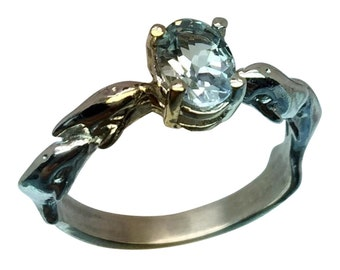 Aquamarine Silver Dolphin Ring, Free Sizing