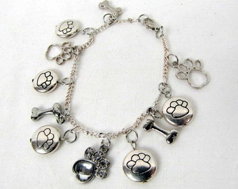 "Silver Puppy Charm Bracelet / Paw Prints Charms / Dog Bone Charms / Heart Rhinestone Paw / 8"" / Original / Handcrafted"