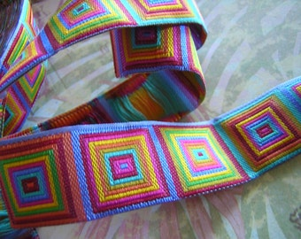 Modern Cubed Design Bright Colors Jacquard Ribbon Sewing Trim 5 yards
