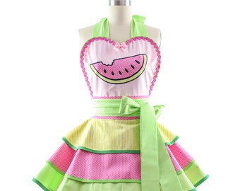 Full Retro Apron - Watermelon Aprons for Women - 50s Inspired Summer Party, BBQ, Kitchen & Hostess Aprons for Women by BambinoAmore