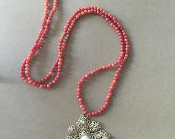 Orange Beaded Gold Flower Pendant Necklace