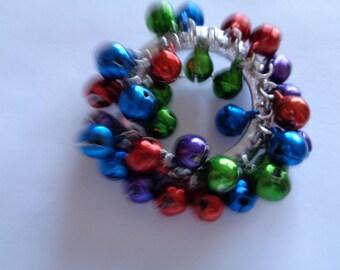Vintage Unsigned Silvertone/Multi Coloured Jingle Bells Wreath Brooch/Pin  Bells Jingle