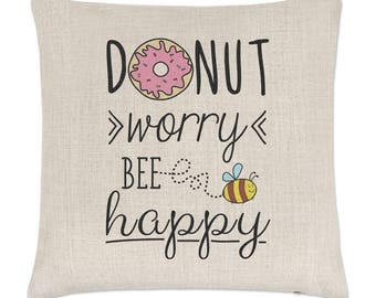 Donut Worry Bee Happy Linen Cushion Cover