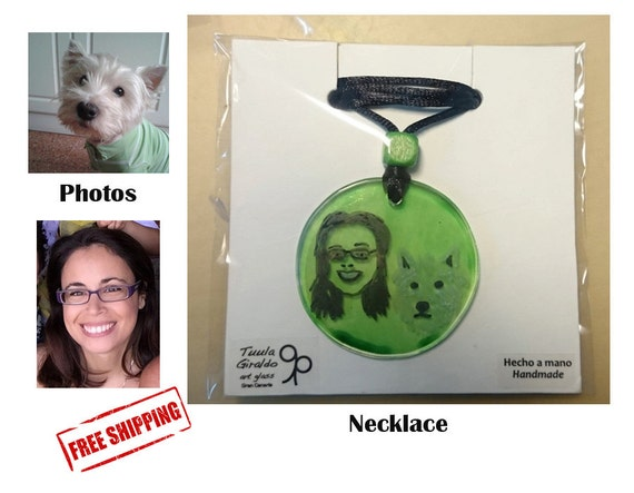 Custom Portrait - Custom necklace personalize - Glass - Pendant - Hand painted - Family, mother, couple, lovers, pets, friends - Free ship