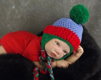 Baby Hat, Newborn Hat, Ear flap Hat, Red and Blue Hat, Newborn Photo Prop, Baby Boys, Crochet Baby Hat, Baby Gift, Winter Hat, NewBorn Ewe
