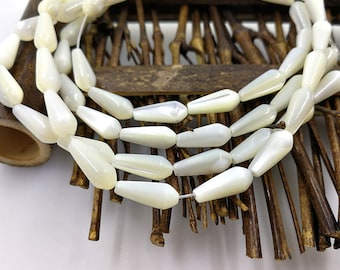 1 Strand 34 Pieces 12x5mm White Mother of Pearl Drop Beads White Shell Drop Beads
