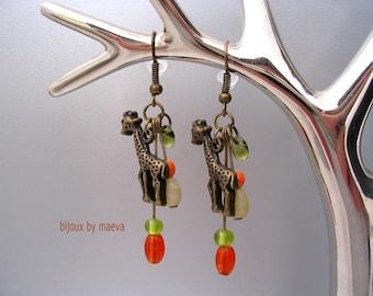 Costume Jewelery  earrings orange green Giraffe