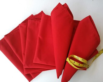Red Table Napkin Set, Handmade Red Napkins, Holiday Red Napkins, Christmas Red Napkins