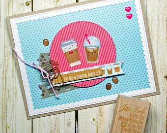 Kawaii Cute Coffee I've Bean Thinking About You Fancy Greeting Card Handmade Kraft Blue Pink Brown for Friend Sister Mom Daughter