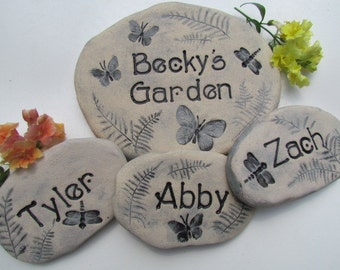 Mothers Day gift for new Grandmother. Garden stones with Children/Grandchildren names. Customized with forest animals, birds, more!