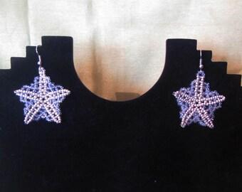 Snowflake Earrings, Beads snowflake Earrings,  Christmas snowflake earrings, Silver Snowflake Earrings, Christmas earrings, snowflake