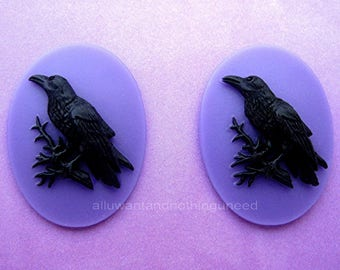 2 Gothic Black on Purple Crow Raven Blackbird Black Bird Witch Wiccan Voodoo Goth Emo 40mm x 30mm Resin CAMEOS LOT for Costume Jewelry
