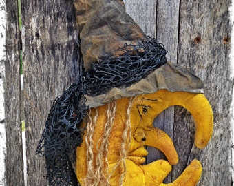 Primitive Witch Moon Halloween Folk Art, Door Greeter, Autumn Fall Decor, Shelf Tuck, Cupboard Sitter,